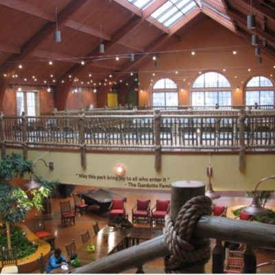 The large atrium at St. Ann Center for Intergenerational Care Bucyrus Campus serves as common space for intergenerational activities.