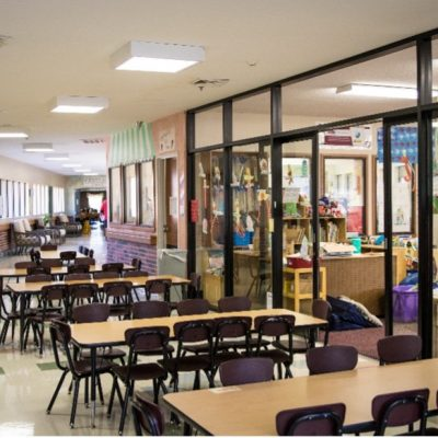 Jenks West Elementary classroom in the middle of Grace Living Center nursing home.